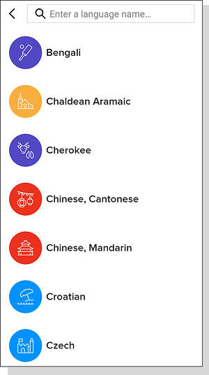 New Mango language course icons