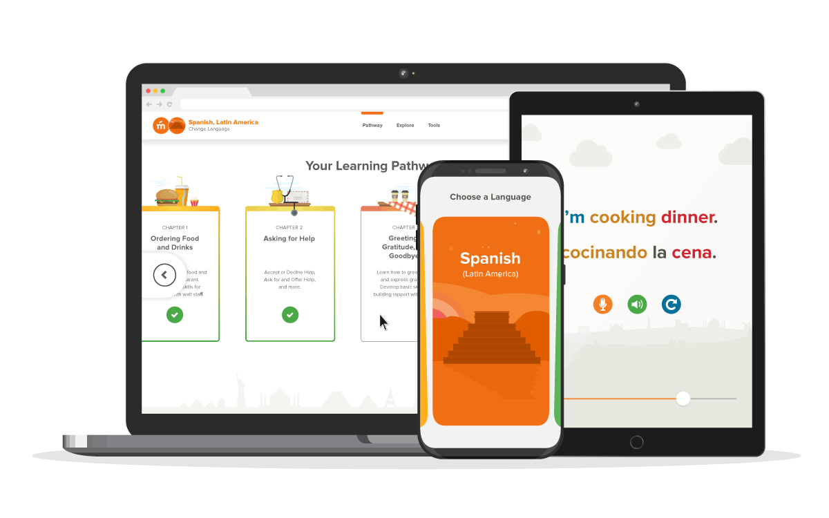 Mango's new interface on desktop, tablet, and mobile.