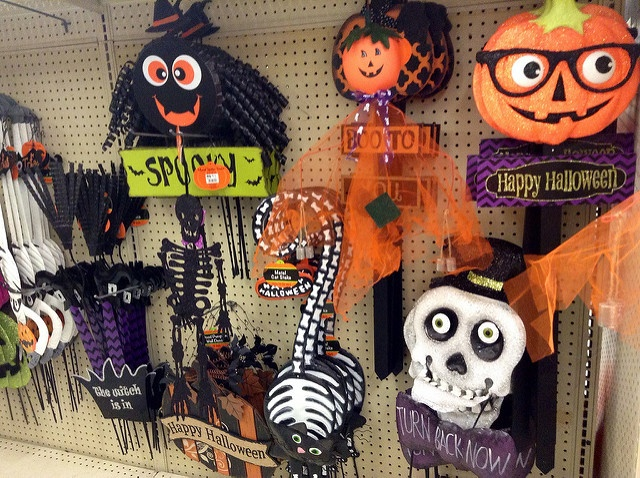 Halloween items for sale in a store.
