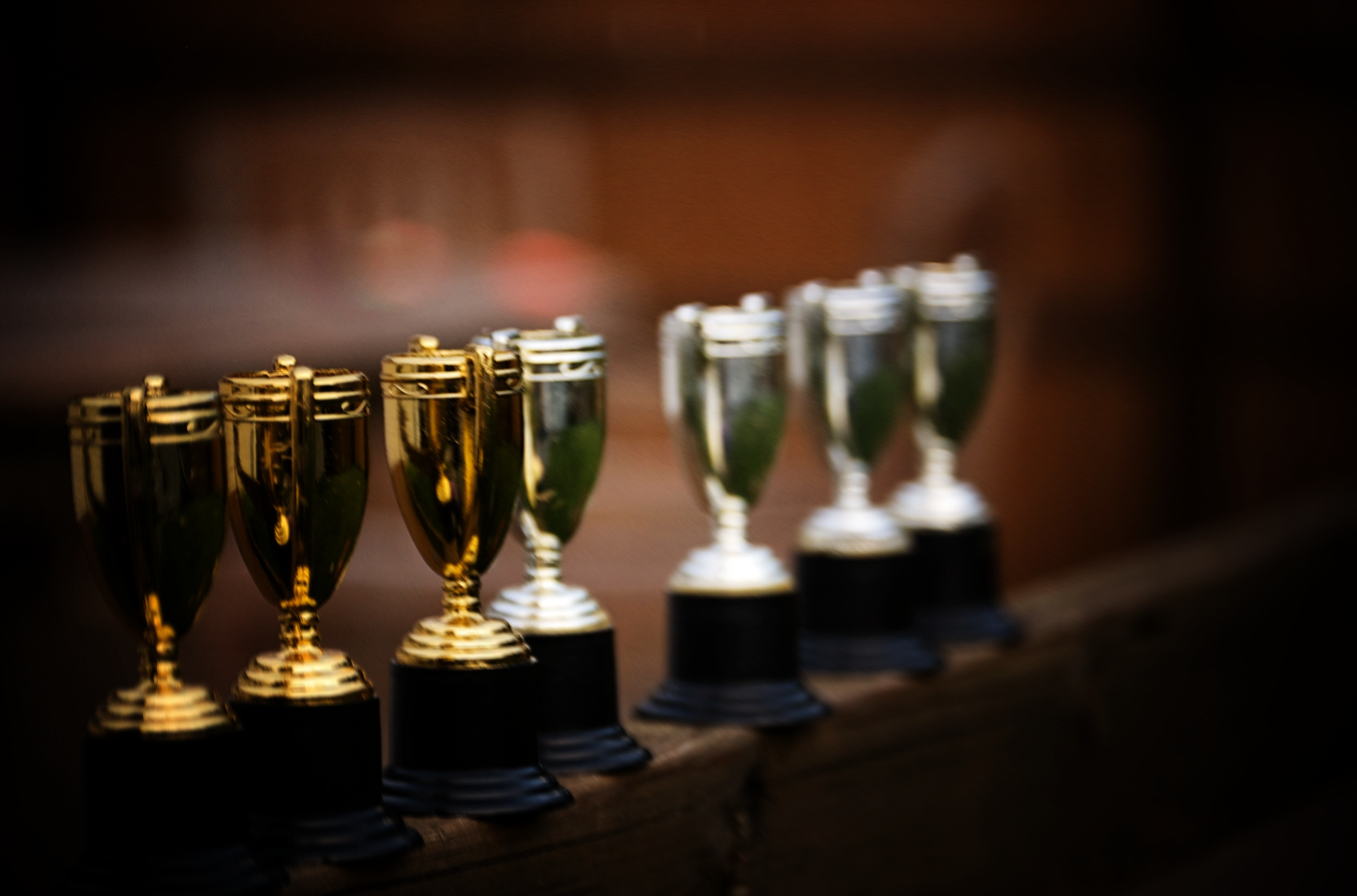 A row of trophies