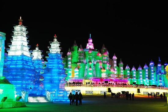Brightly lit ice sculptures in Harbin.