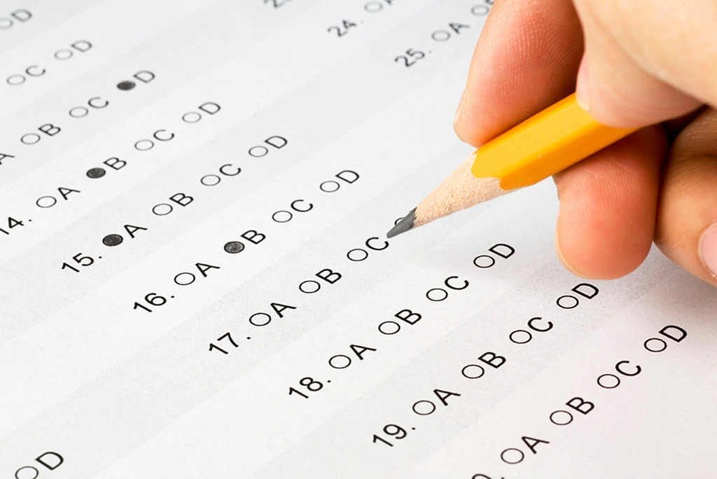 A person taking an exam.
