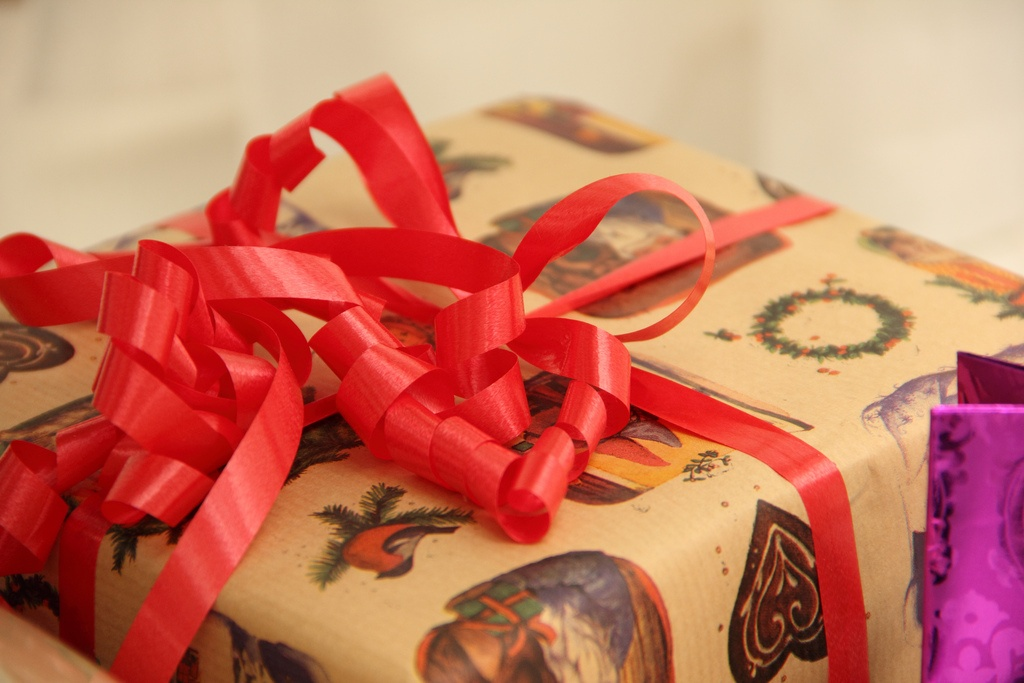 A wrapped present.