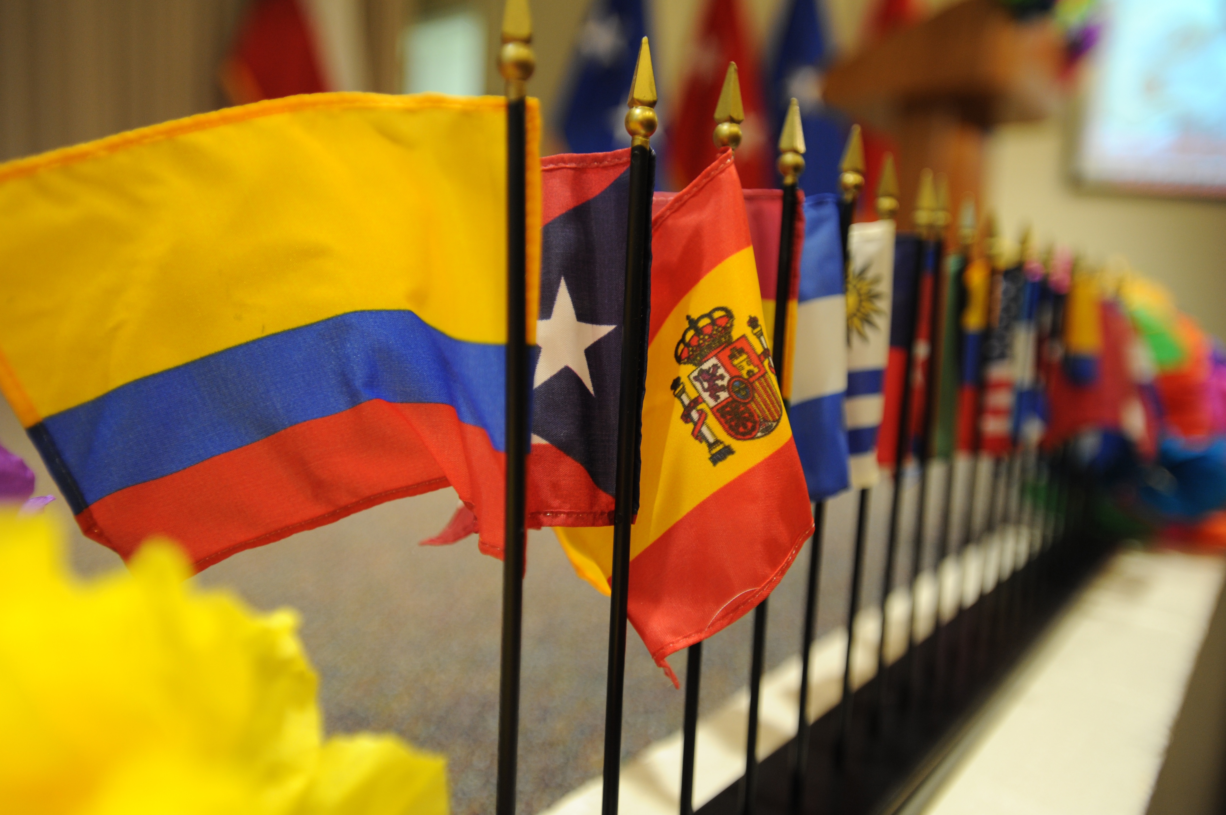 Display of different Latin American flags.