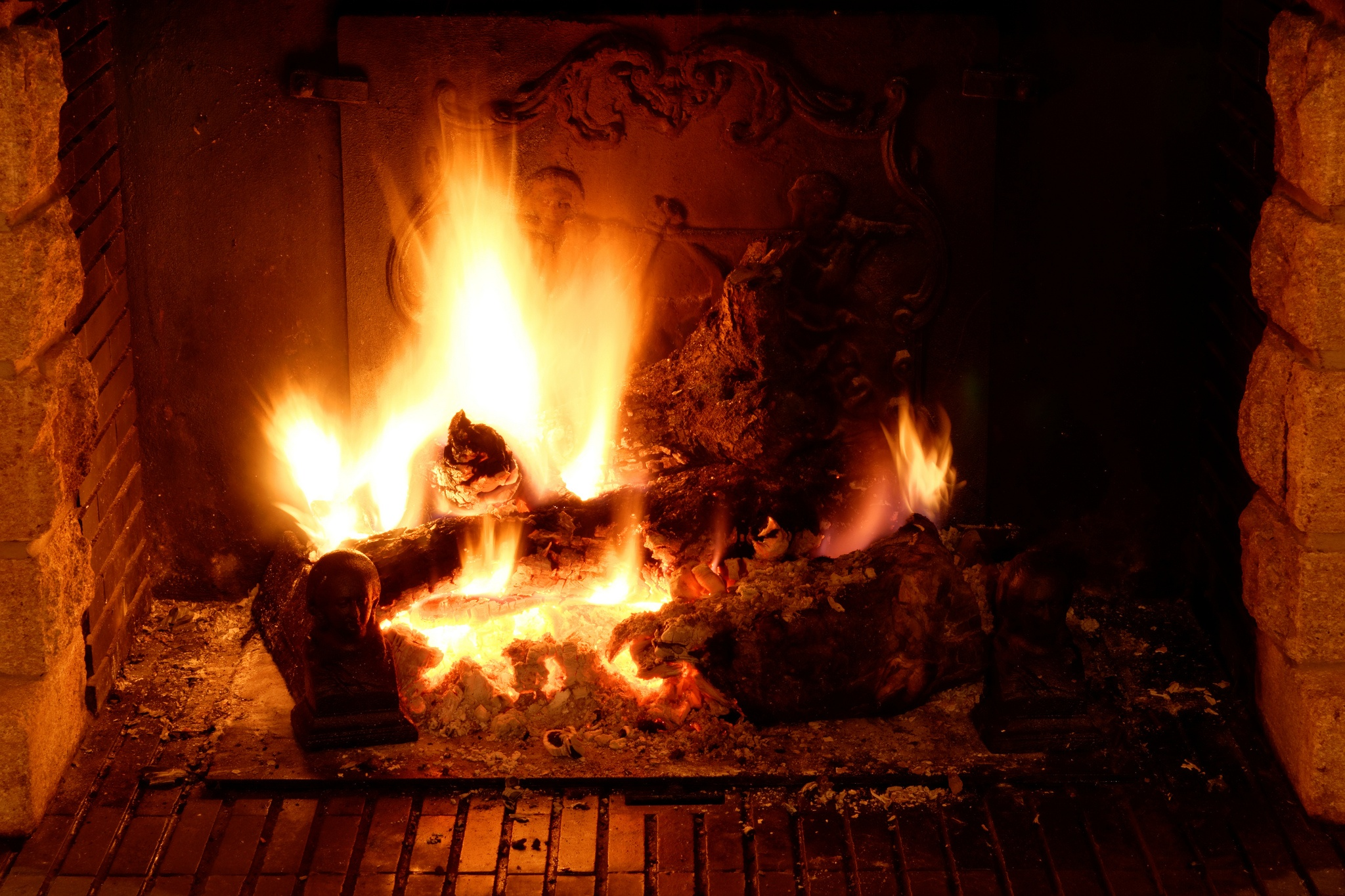 A fire in a fireplace.