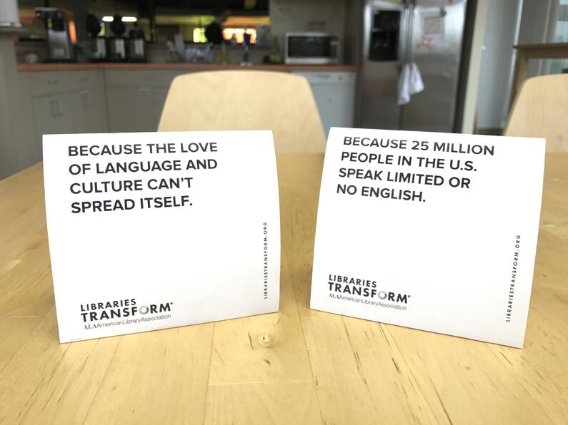 Libraries Tranform table tents