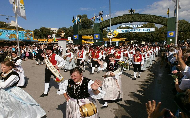 Oktoberfest parade in the streets of Munich.