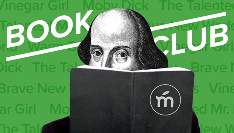 Shakespeare reading a book with the text 'Book Club' written above.