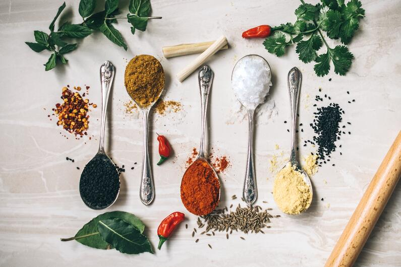 Tablespoons of international spices