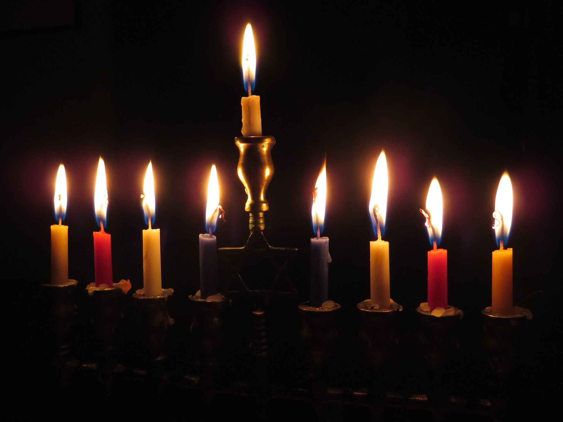 Candles in a menorah.
