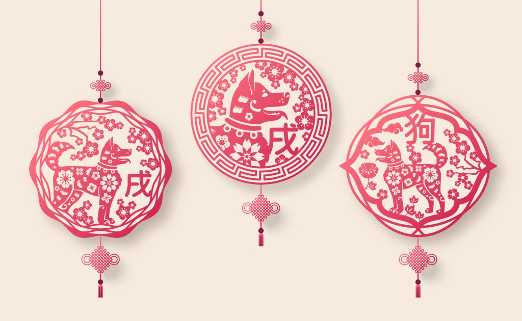 Dog pendants for Chinese New Year.