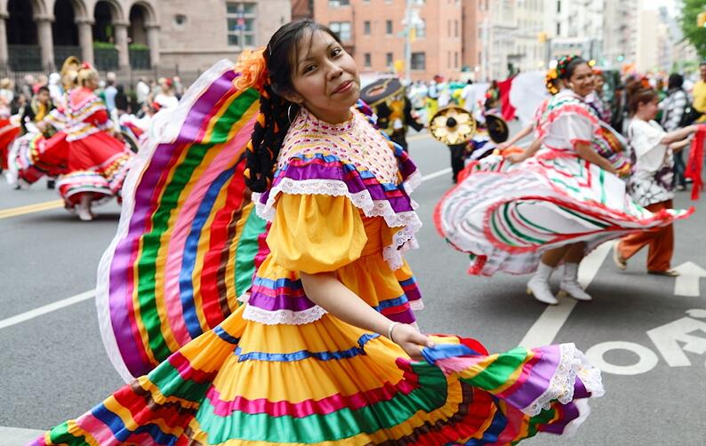 Dancers in a Cinco de Mayo parade in Puebla, Mexico.