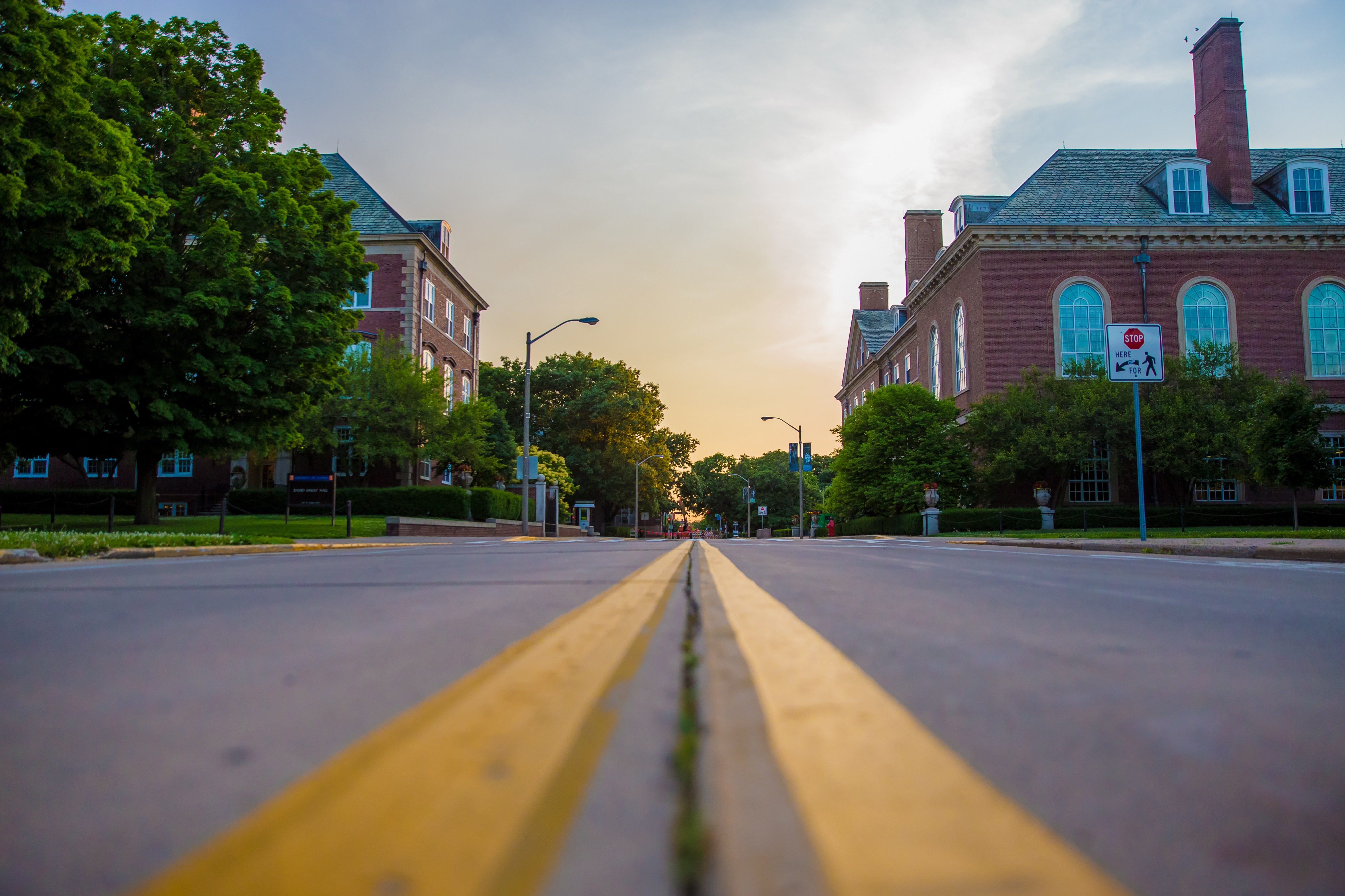 College buildings and street