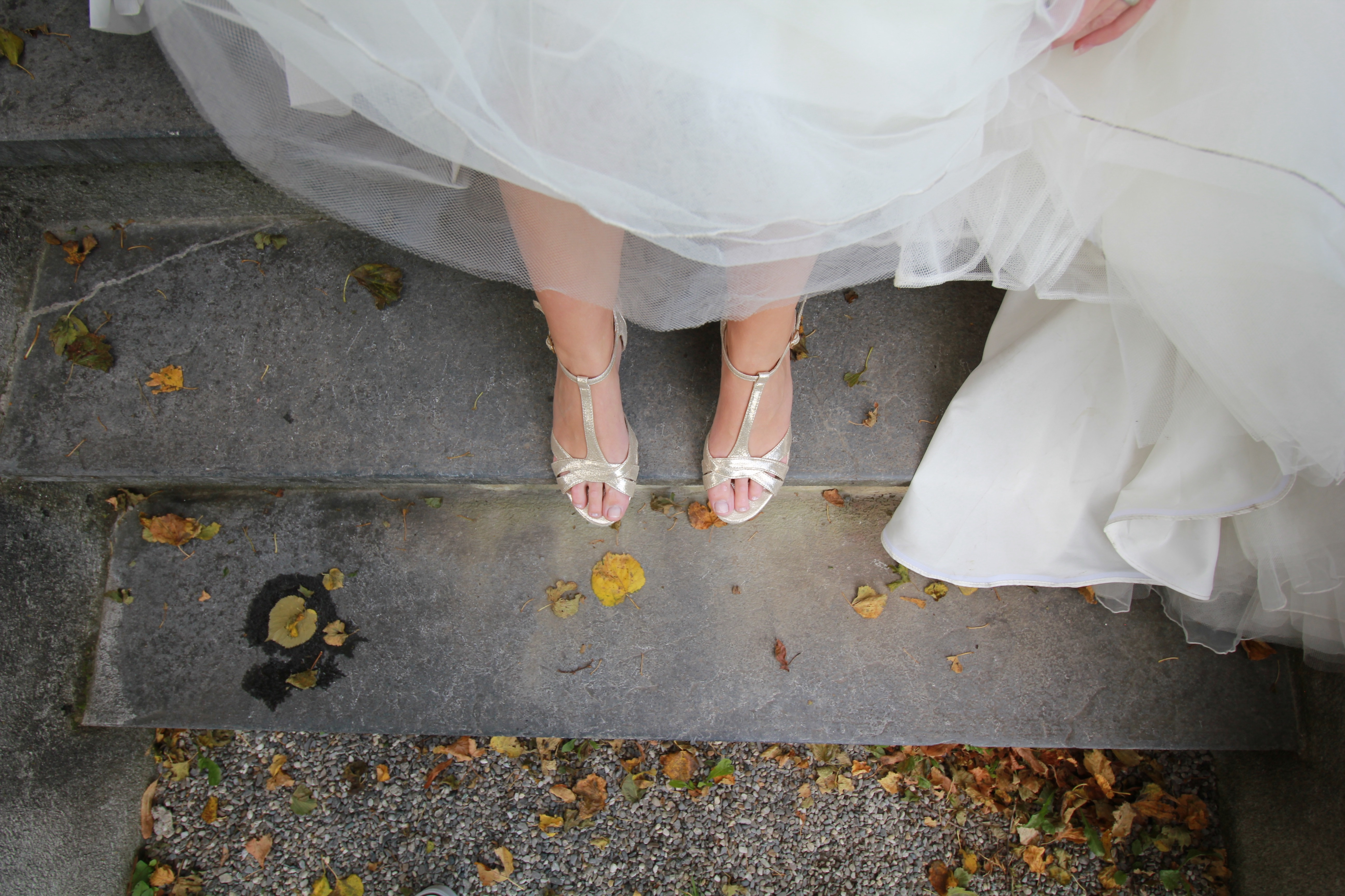 A  bride wearing shoes.