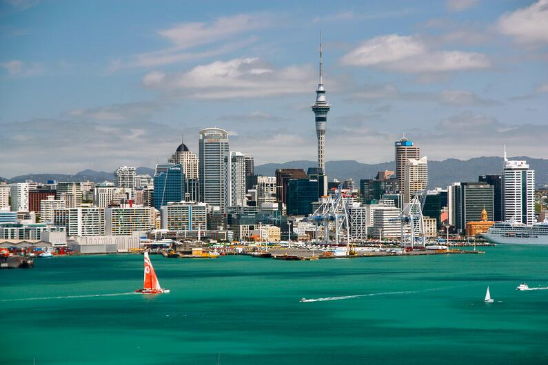 Auckland, New Zealand skyline.