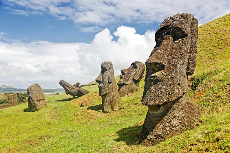Stone statues at Rapa Nui National Park on Easter Island.