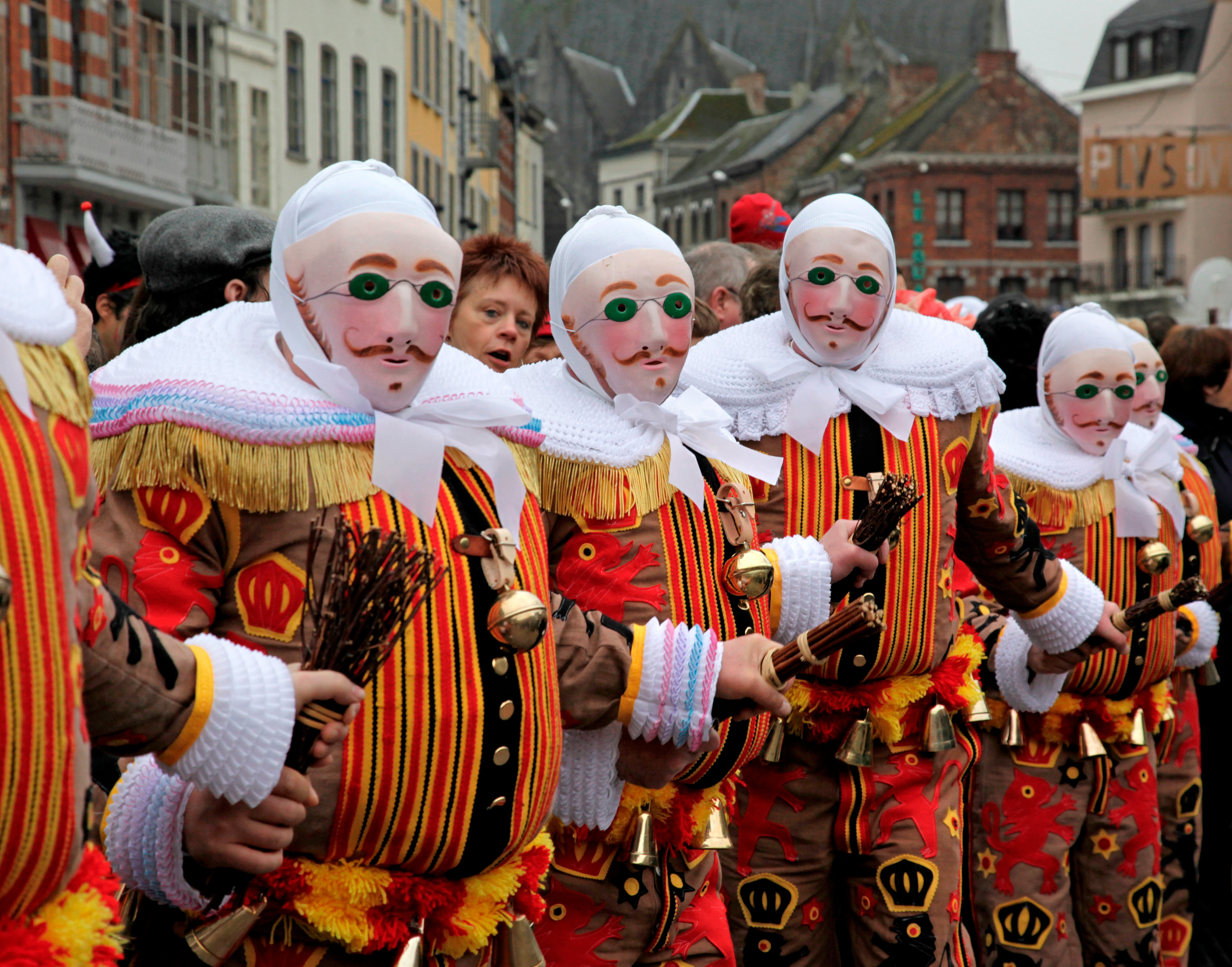 Gilles in costume at the Carnaval de Binche.