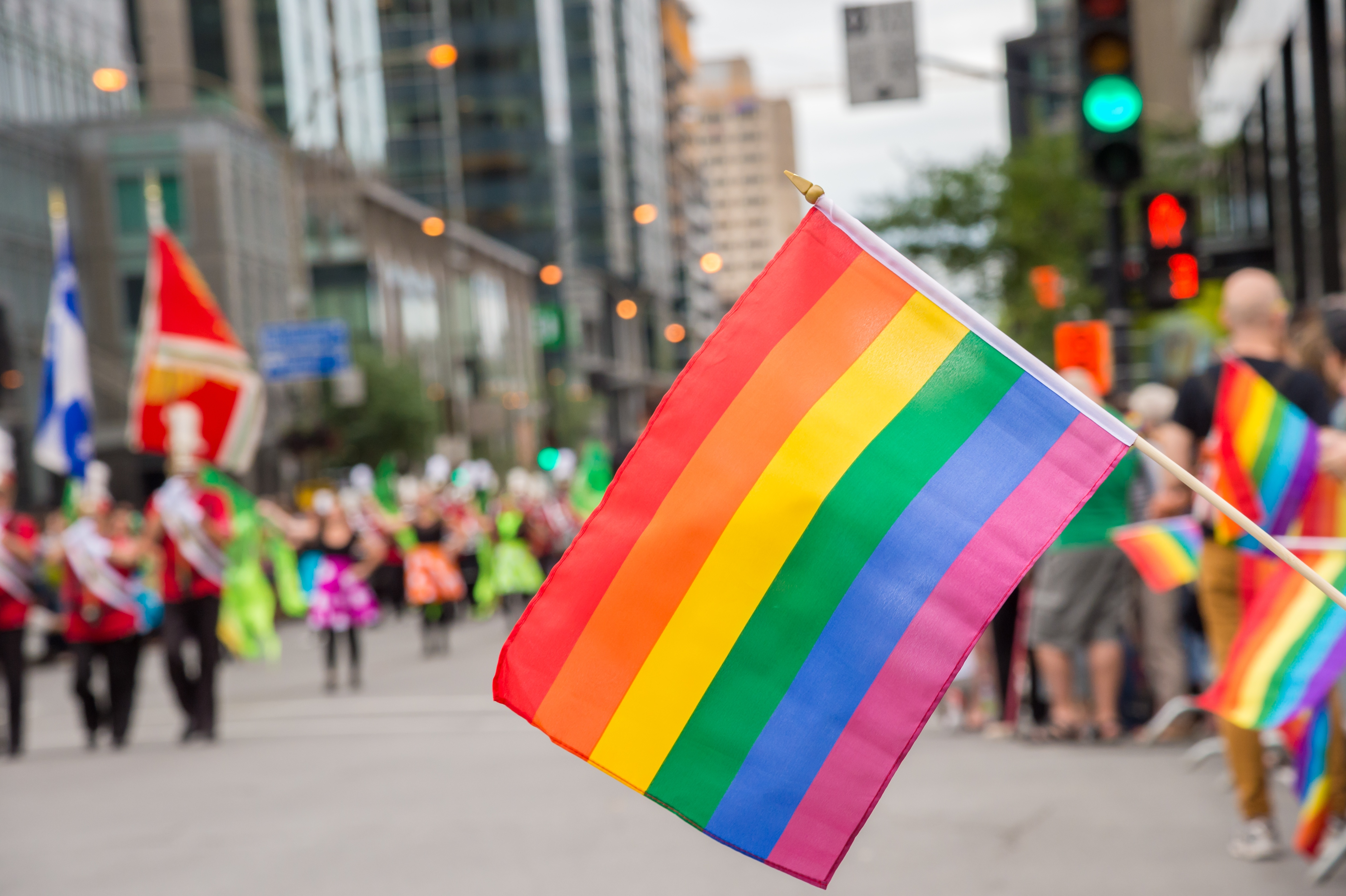 Rainbow flag during a Montreal Pride parade.