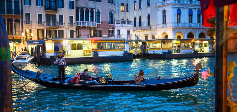 A gondola in the canals of Venice.