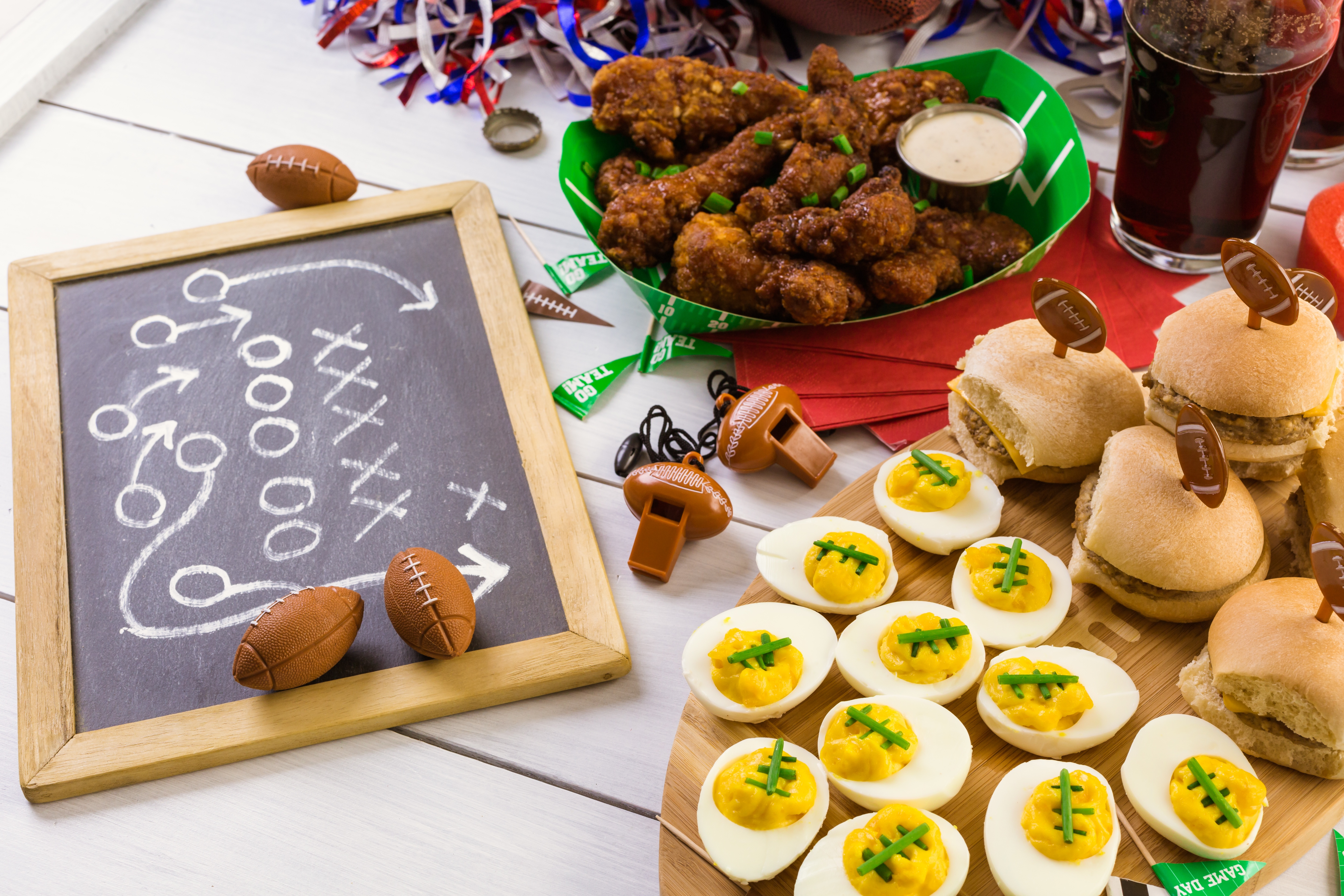 Chicken wings and snacks for The Big Game.