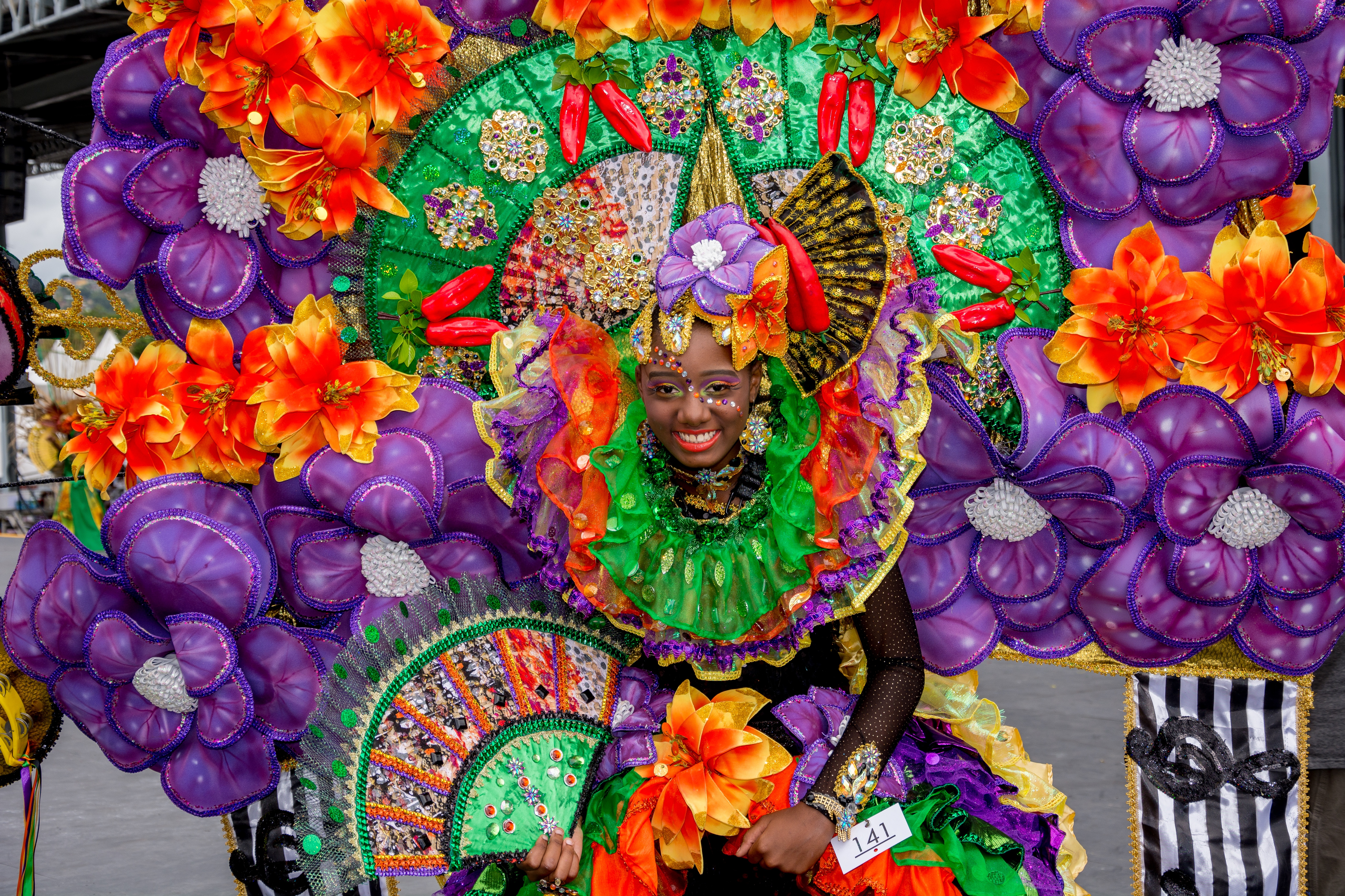 Young woman in an elaborate headdress  at the Trinidad and Tobago Carnaval.