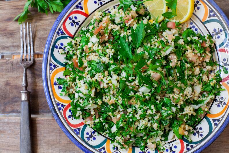 A Lebanese plate of parsley and bulgur salad.