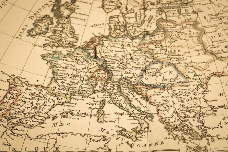 Antique map of Europe.
