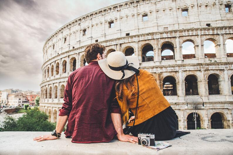 A couple at the Colosseum in Italy.
