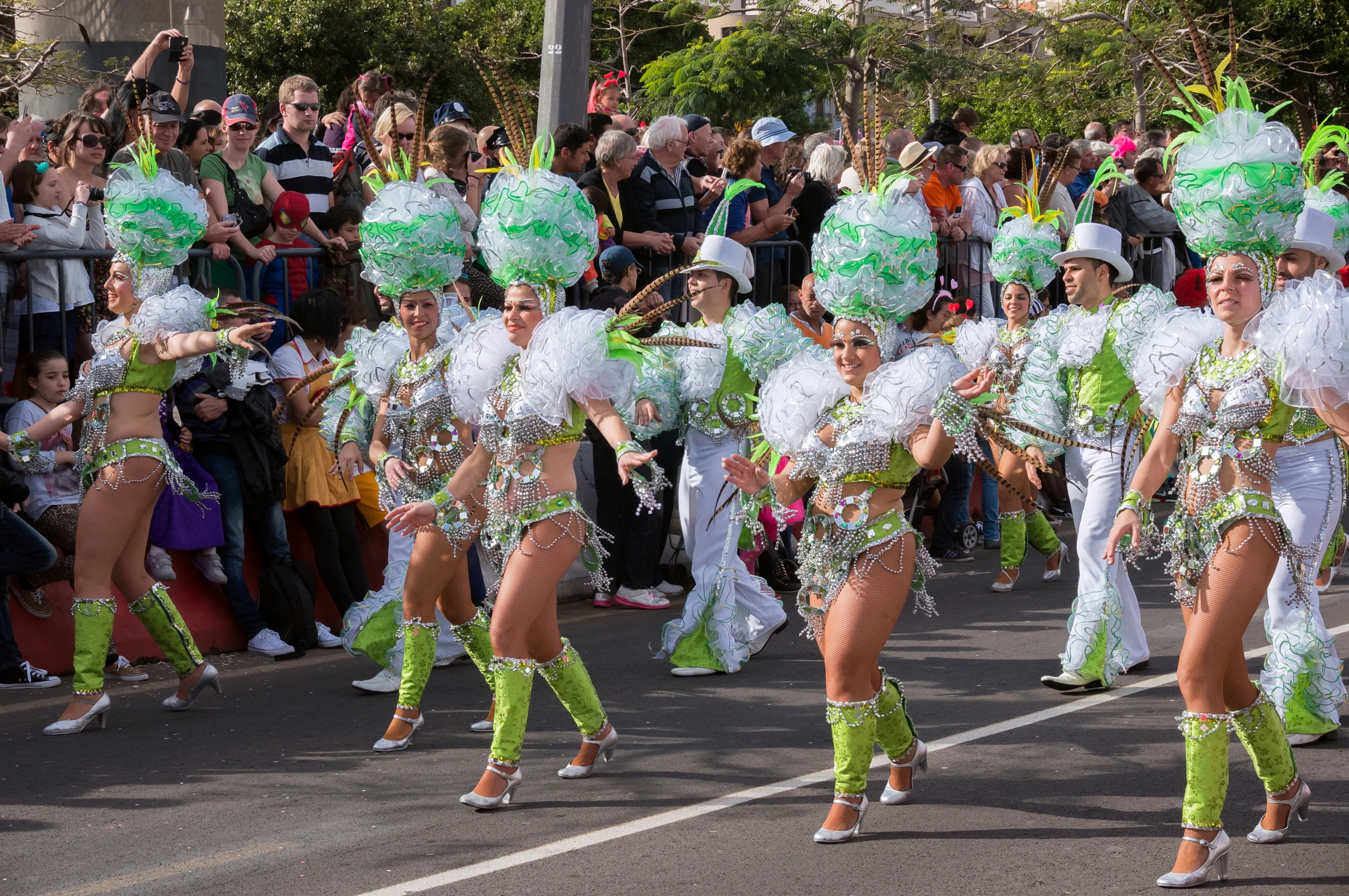 Costumed women competing for the title of Carnaval Queen at Tenerife Carnaval.
