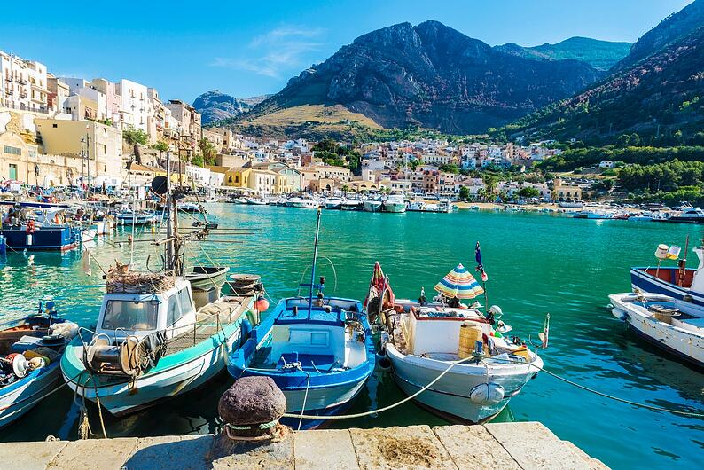 Sicilian fishing boats in Sicily