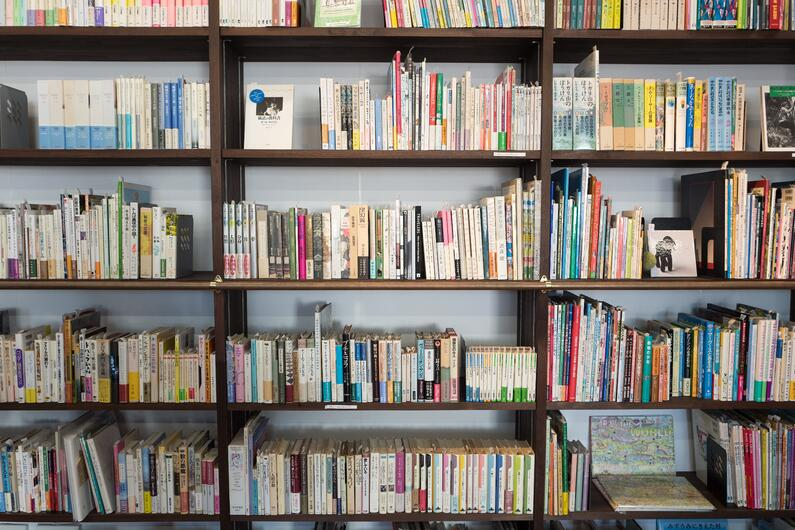 Books on a library shelf.