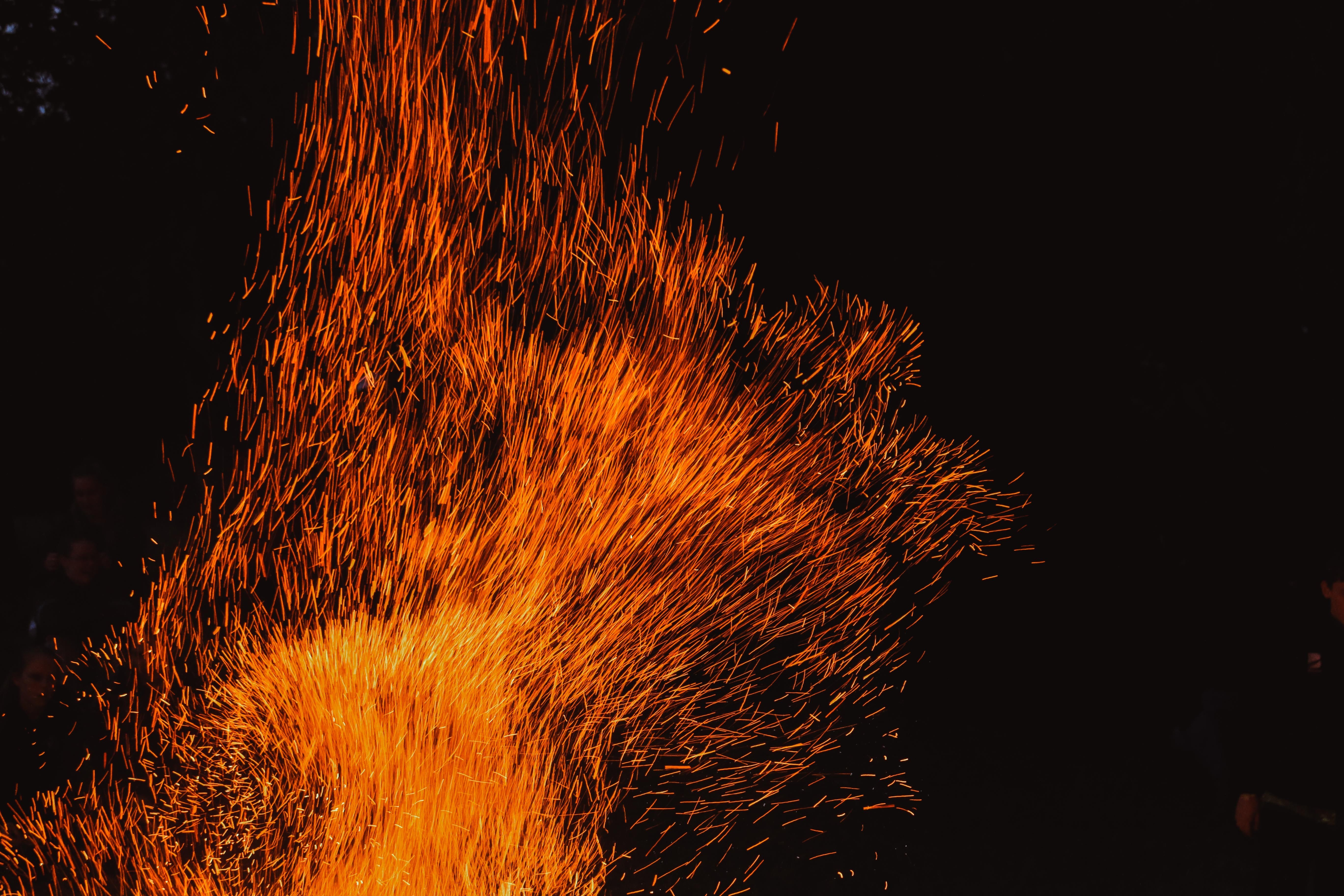 Sparks from a fire.