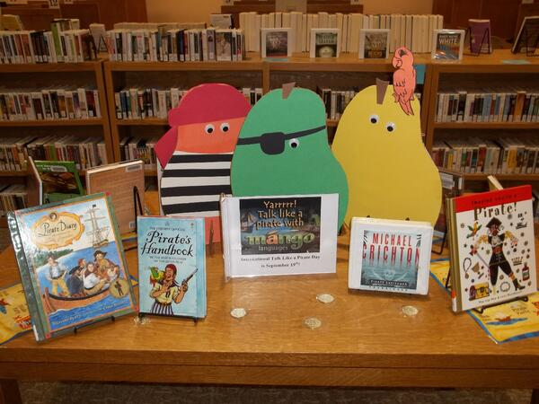 Mango pirates on a pirate book display