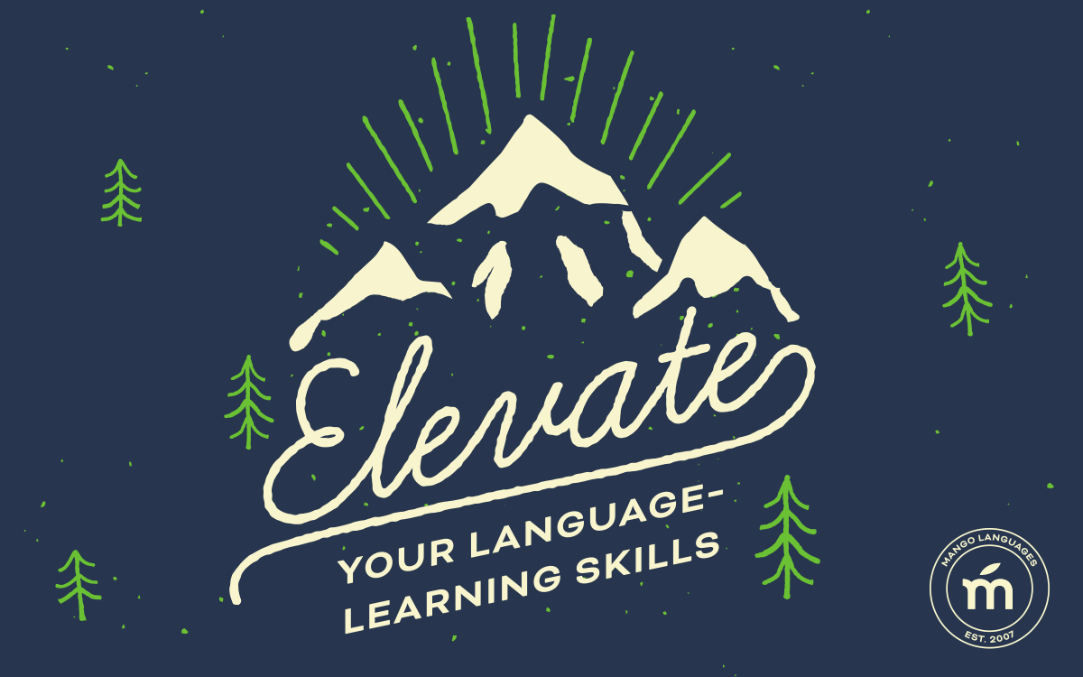 'Elevate your language-learning skills' across a mountain landscape.