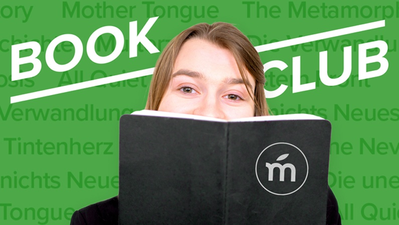 Book Club header with titles in background.