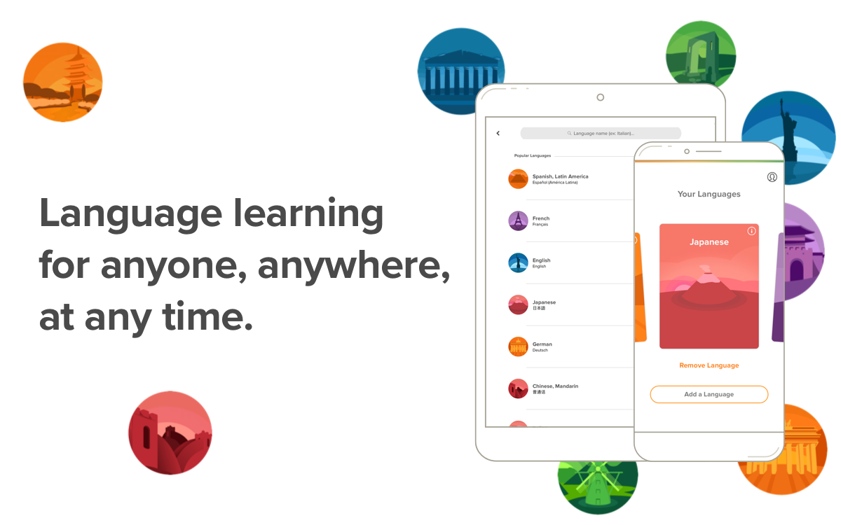 Mango Languages' redesigned app interface on tablet and mobile.