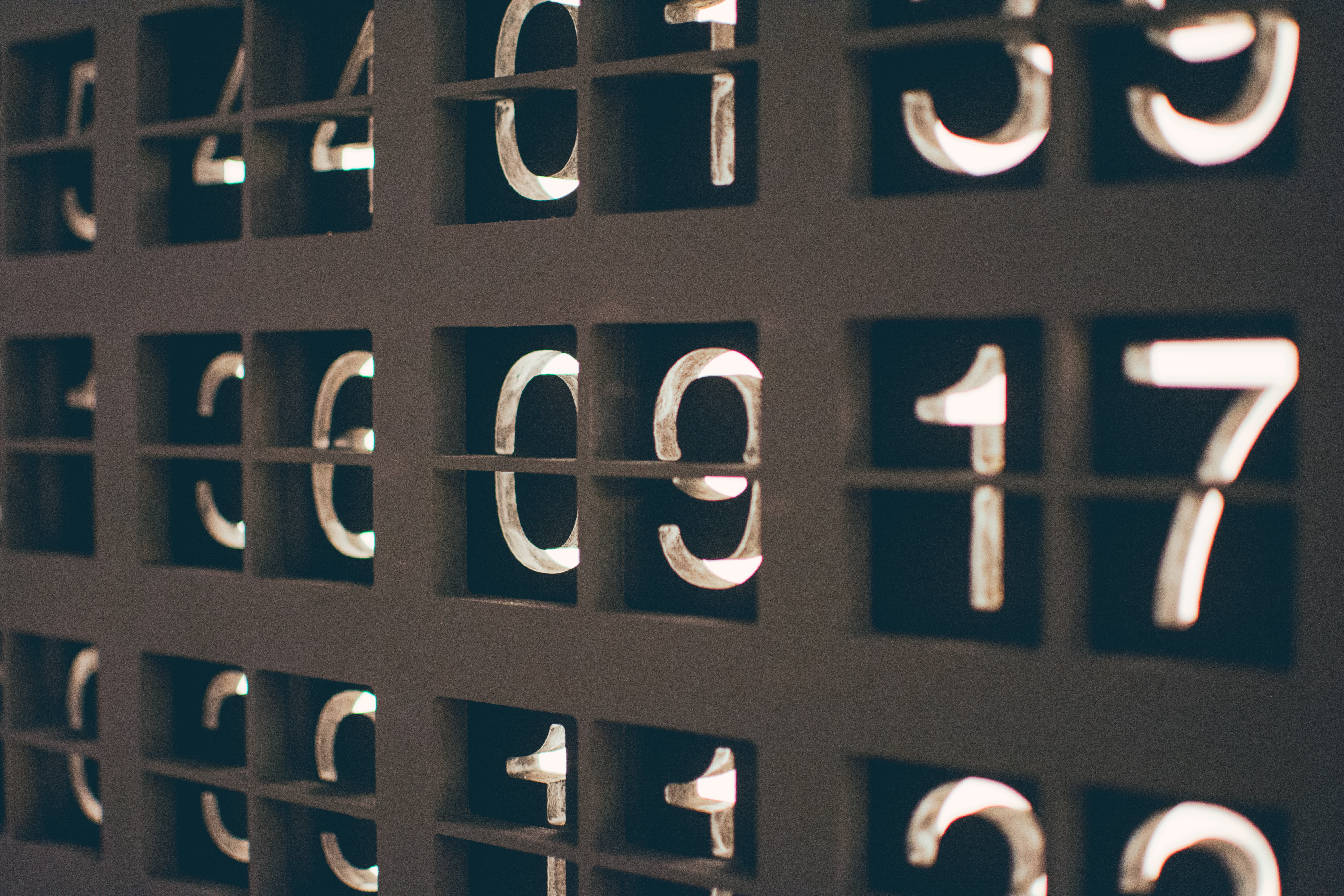 Glowing numbers in a row.