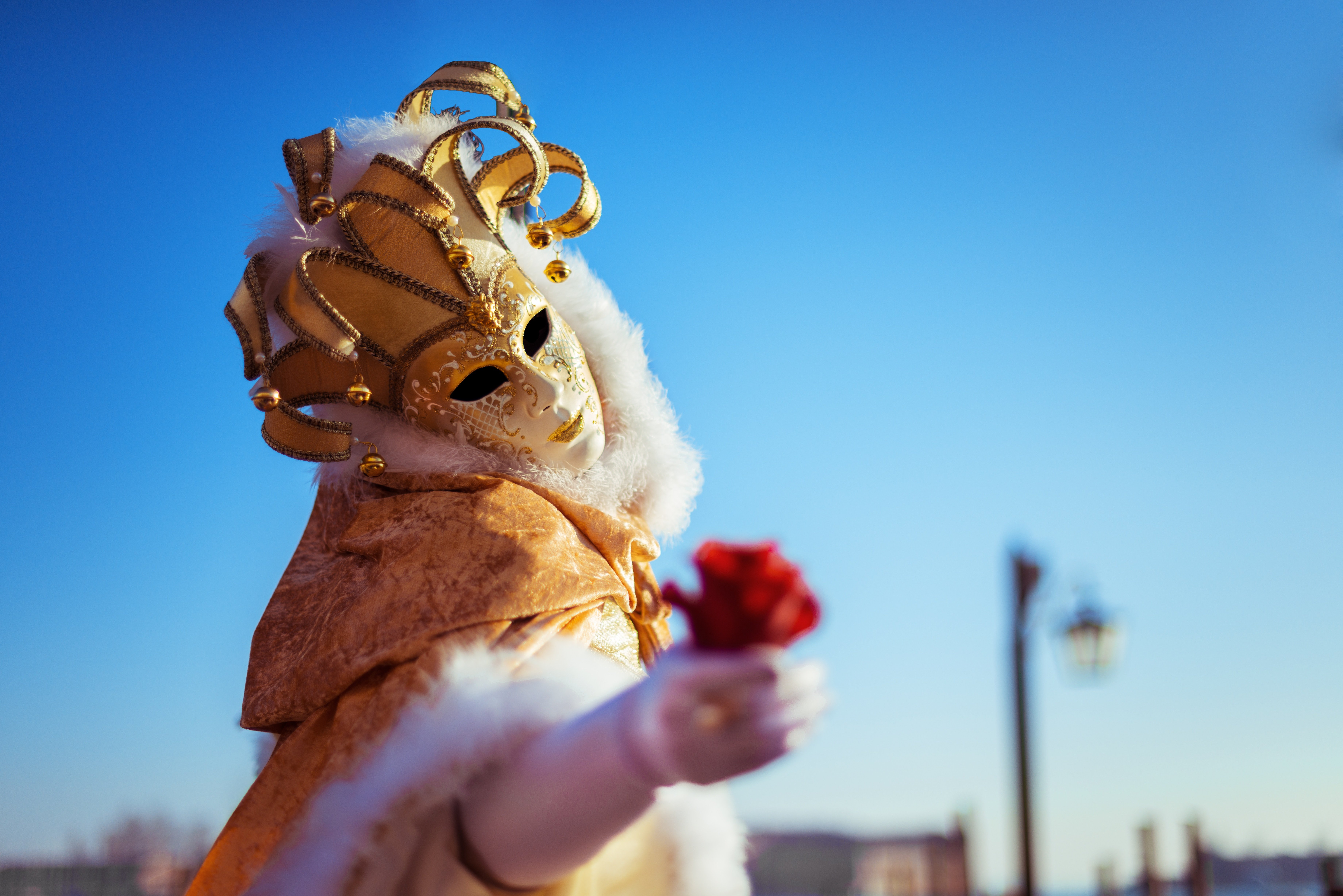 A woman wearing a Venetian costume and holding out a rose at the Carnival of Venice.