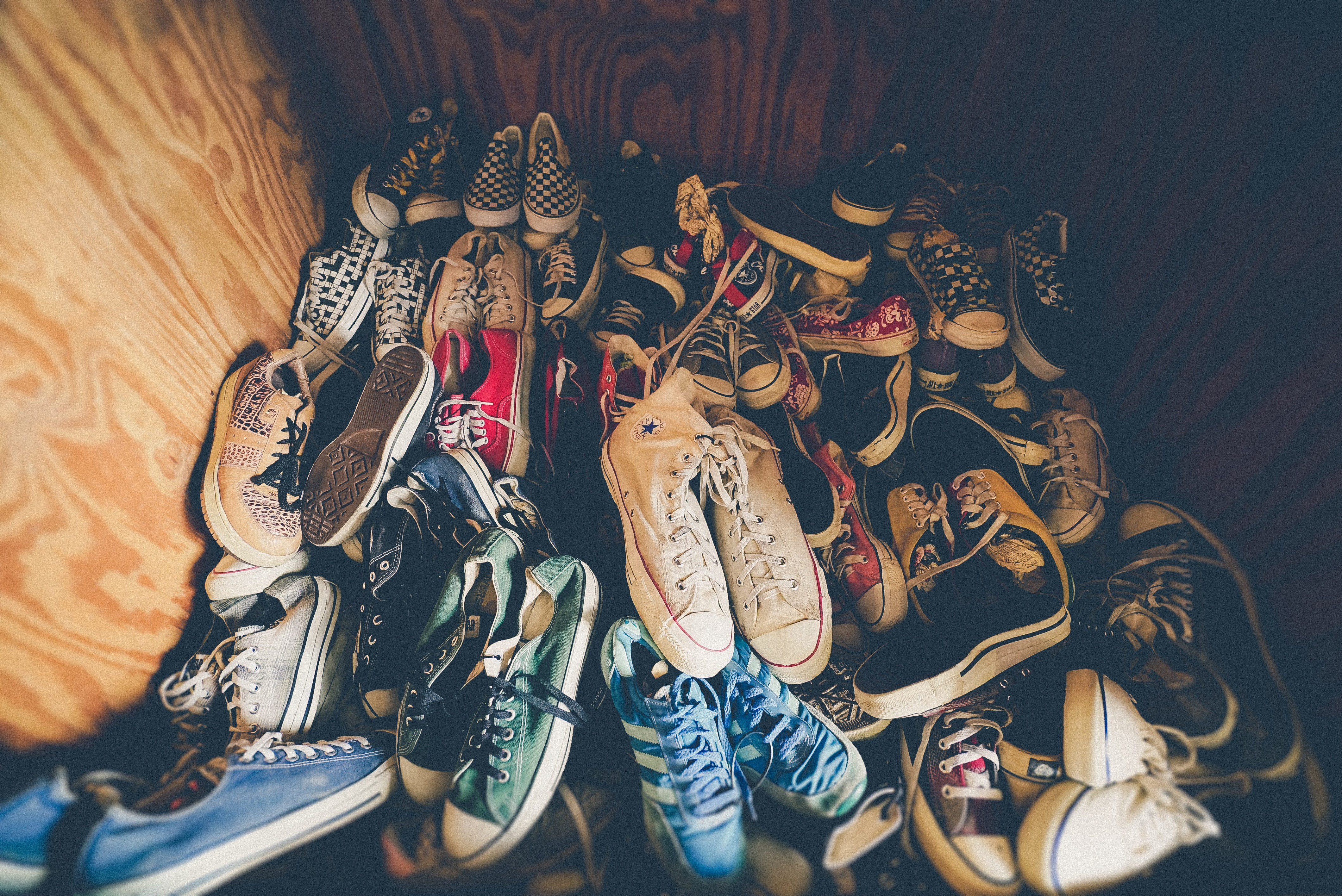 Space filled with shoes.