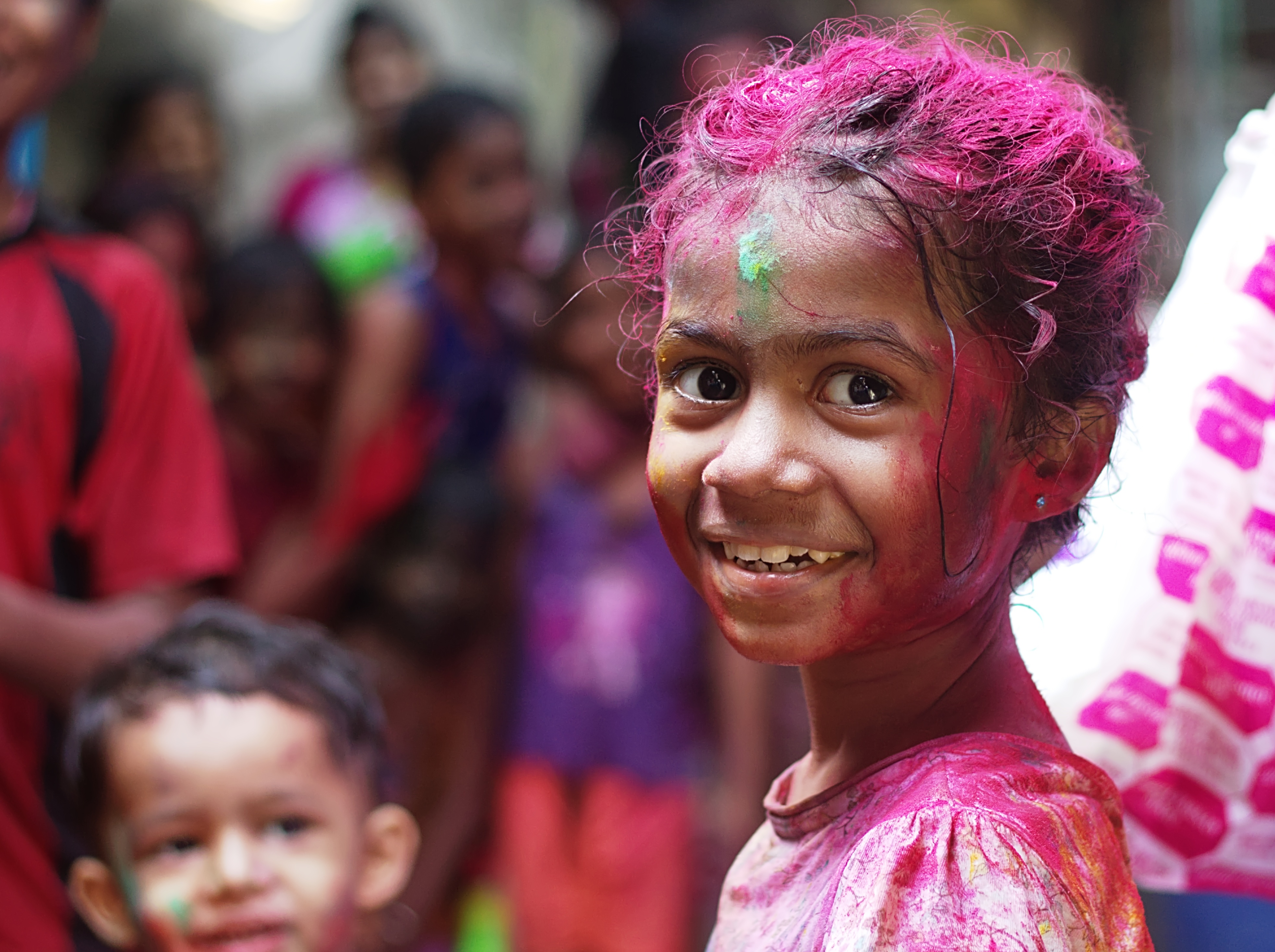 A young girl at Holi, the festival of colors.